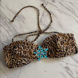 Leopard & Blue Gem Pendant Bikini Top